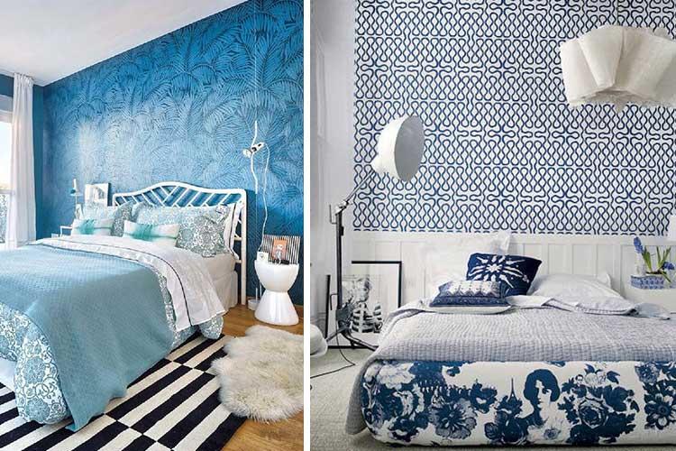Cabeceros papel pintado tonos azules