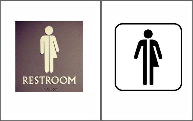 diseño grafico en baños - señalética