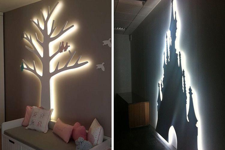 ışıklı silüetlerle çocuk odası dekorasyonu
