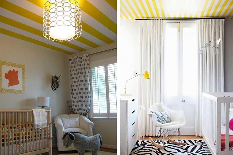 Techos con rayas amarillas y blancas