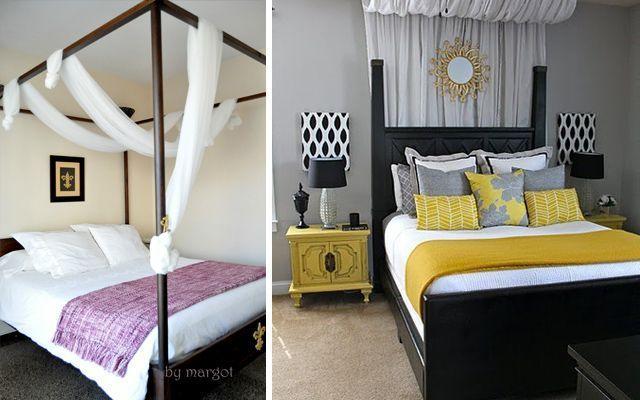 decoracion de cama con manta plaid
