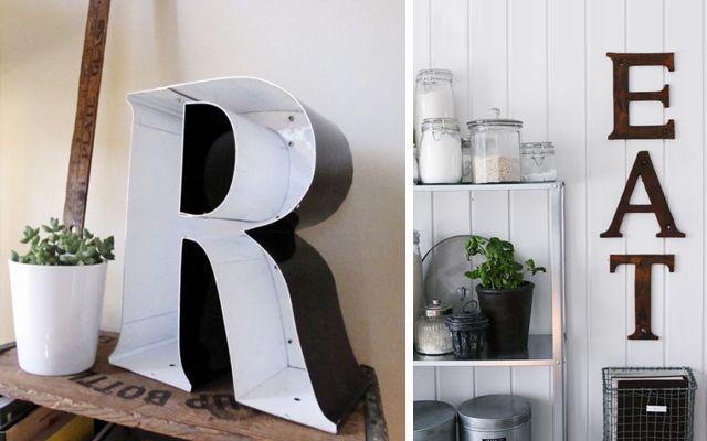 decoración interior con letras corpóreas