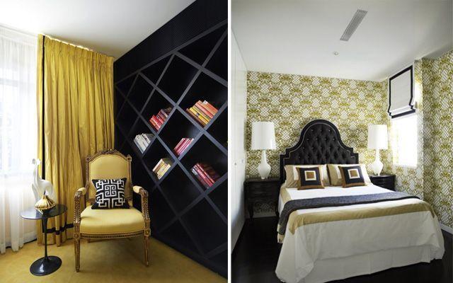 Decoración casa en colores dorados, blancos y negros
