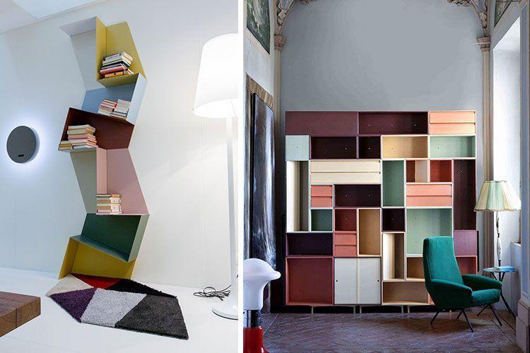 Decoración estanterías con color