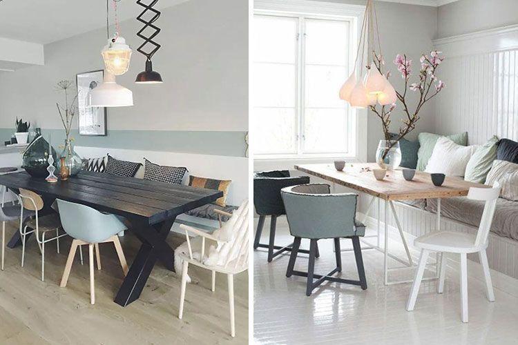 Mesa de comedor con sillas de diferentes colores