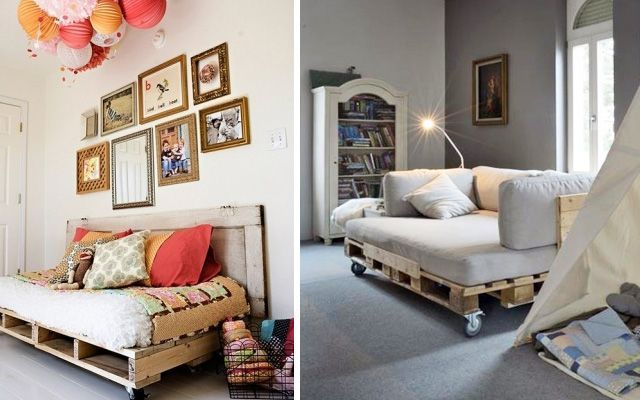 ideas para decorar con palets como base de asientos