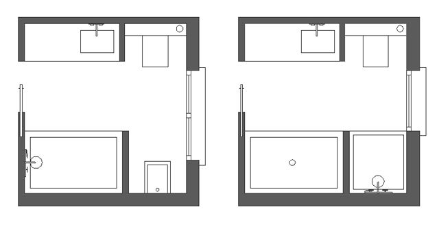 Distribución de baños cuadrados