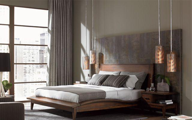 Decoración de dormitorios con lámparas suspendidas sobre las mesillas de noche