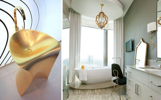 Decoración de baños dorados. Más de 20 ideas para decorar el baño en tonos dorados.