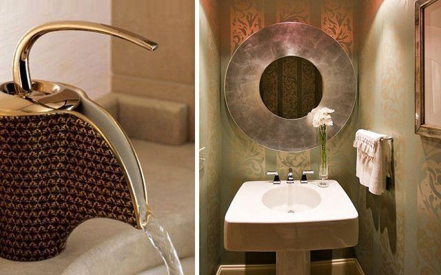 Altın banyo dekorasyonu.  Banyoyu altın tonlarında dekore etmek için 20'den fazla fikir.