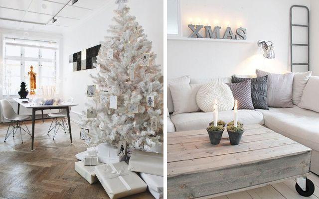 Decoraci n navide a en tonos blancos - Decorar en blanco y madera ...