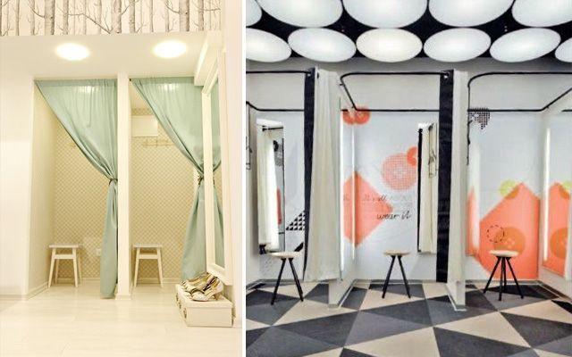 Decoración de tiendas y probadores de diseño