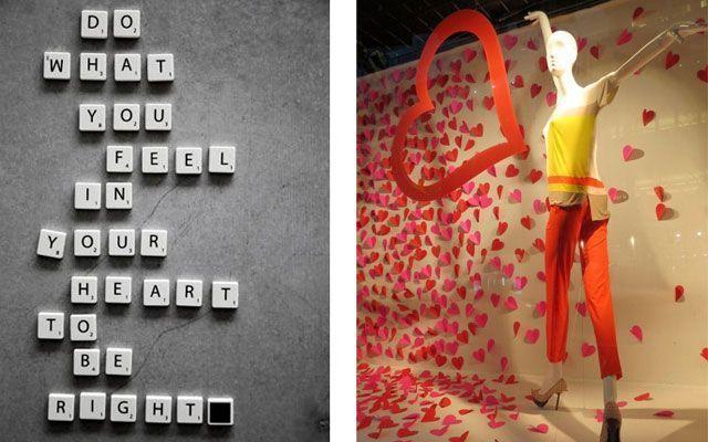 Decoración de escaparates en San Valentín