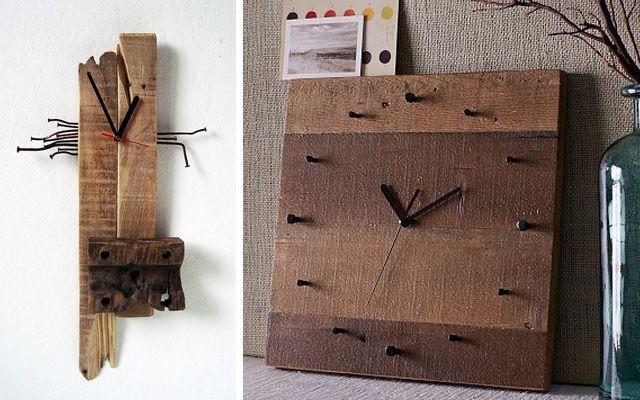 Decoraci�n de paredes con relojes de Pallets
