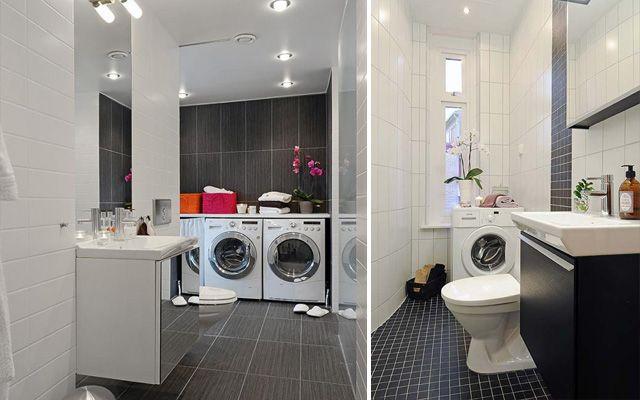 Baño Pequeno Lavadora:Distribución de lavadora y secadora en el baño para casas pequeñas