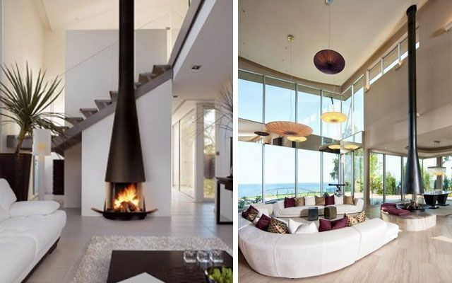 ideas para decorar salones con chimeneas modernas de tiro visto