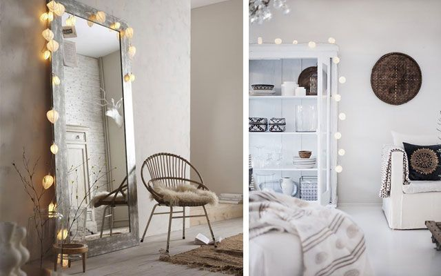 Ideas para decorar con guirnaldas luminosas for Miroir a poser par terre