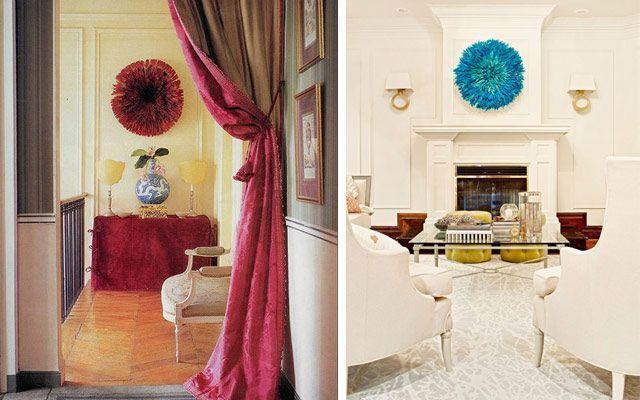 Duvarları tüylü rozetlerle dekore etme fikirleri
