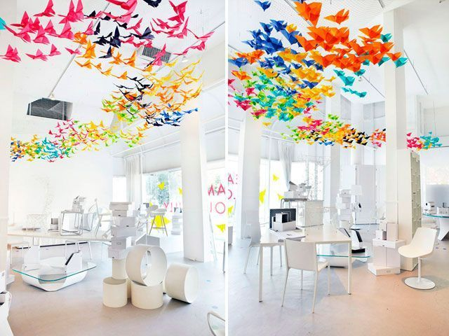 30 ideas para decorar interiores con origami - Decoracion con fotos en paredes ...