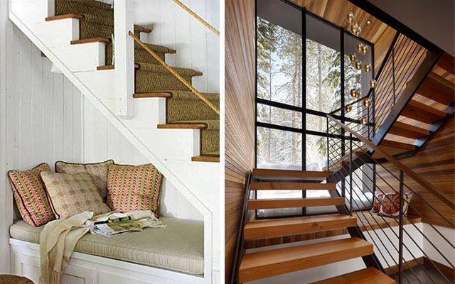 Cómo aprovechar espacios bajo la escalera - Asientos de lectura