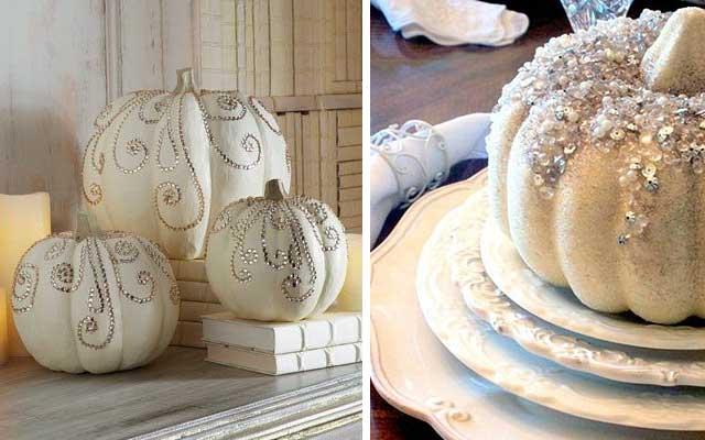 Calabazas blancas para un halloween elegante - Decoracion calabazas para halloween ...