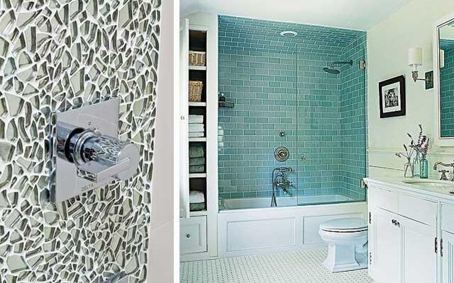 48 ejemplos de decoraci n de ba os en cristal - Papel para azulejos de bano ...