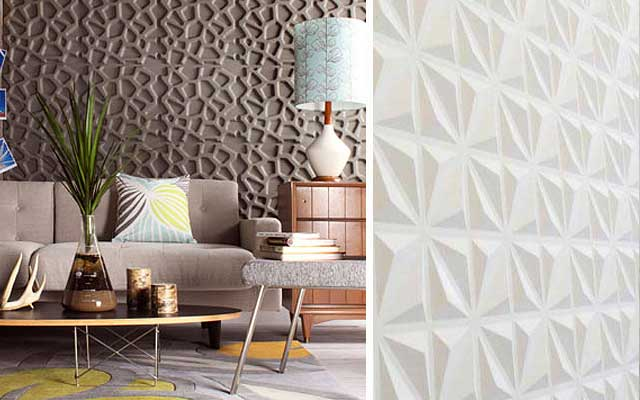 4 ideas para decorar paredes en 3d y dar volumen a tus muros for Materiales para forrar paredes interiores