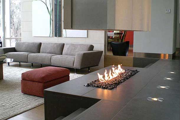 48 chimeneas modernas para la separaci n de espacios for Hogares a gas modernos