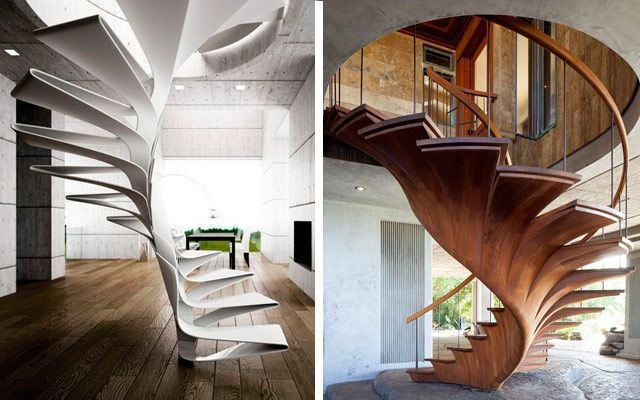 Ideas para decorar con escaleras de caracol originales for Escaleras rectas