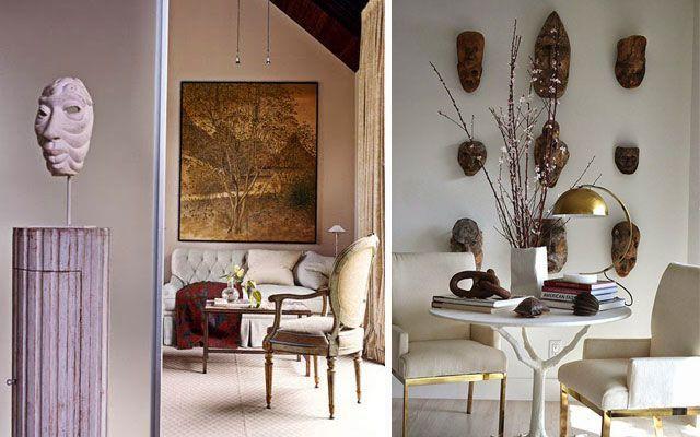 Las m scaras en la decoraci n de paredes y aparadores - Formas de pintar paredes interiores ...