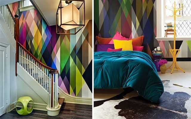 Ideas para pintar paredes con tri ngulos for Gama de colores vivos