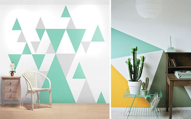 Ideas para pintar paredes con tri ngulos for Paredes decoradas con pintura