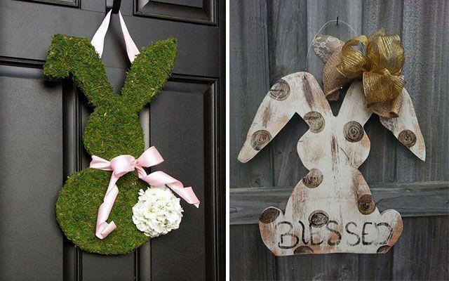 Paskalya tavşanı çelenkleriyle süslemek için fikirler