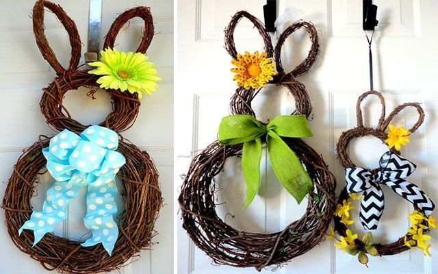 Ideas para decorar con coronas don conejito de Pascua