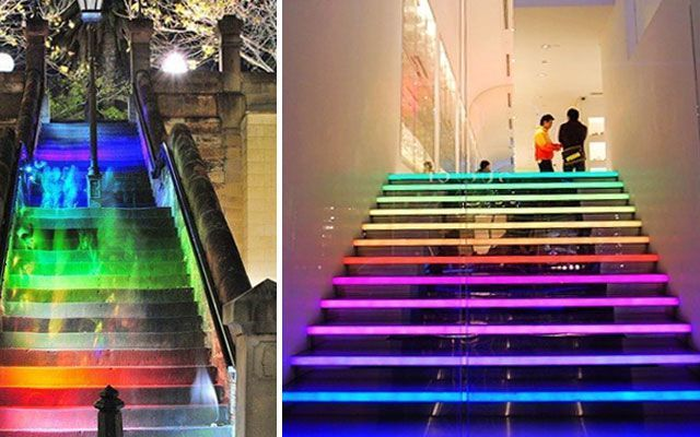 Ideas para decorar escaleras con luz for Decoracion para pared de escaleras