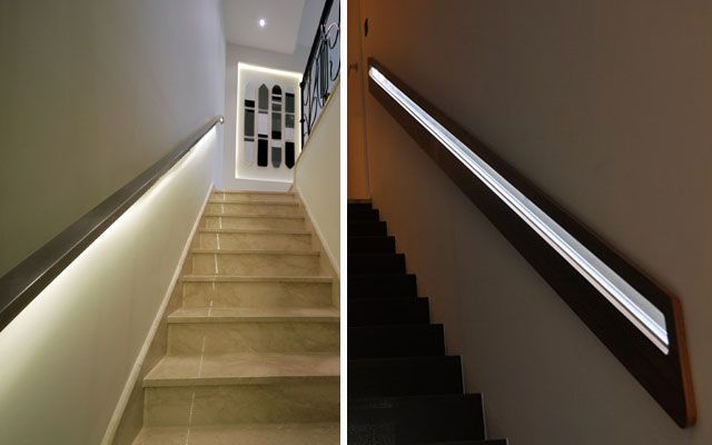 Ideas para decorar escaleras con luz for Apliques de luz para escaleras