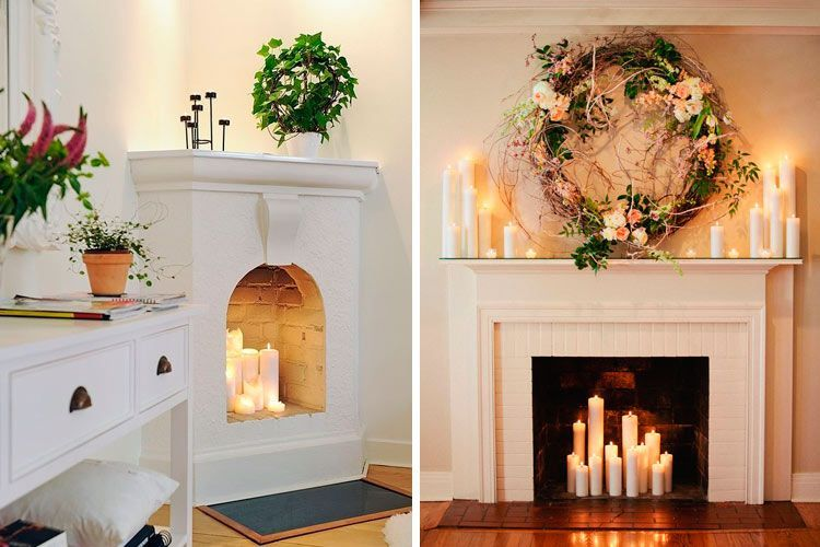 Ideas para decorar chimeneas en desuso for Decoracion del hogar con velas
