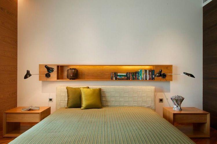 Decorar con estantes sobre la cama - Que es un futon ...