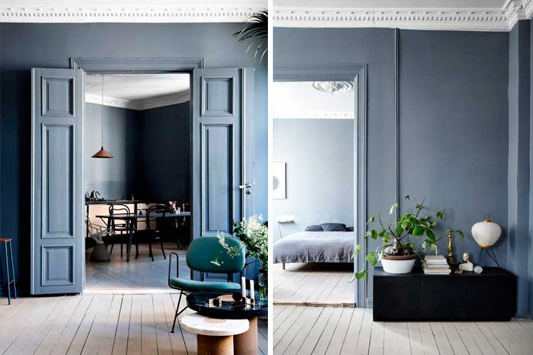 Las 10 tendencias en decoraci n 2017 qu se llevar for Pintura azul para interiores