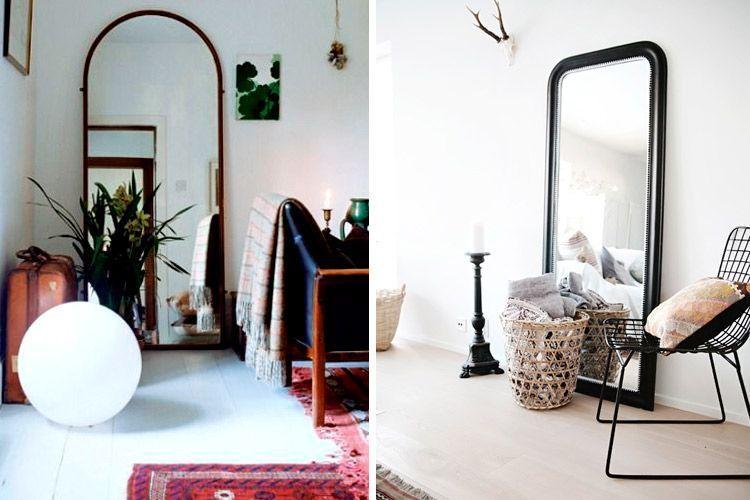 Decora con espejos apoyados en el suelo for Espejos para decorar living