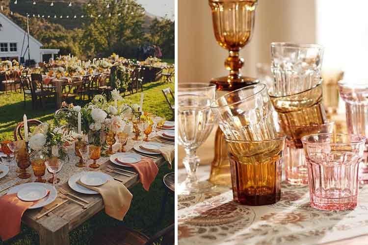 Cristalerías de colores para decorar la mesa