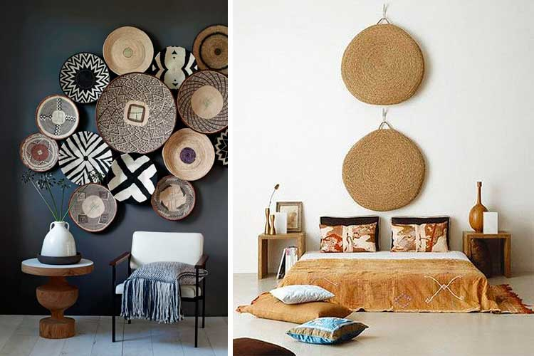 El estilo tnico en la decoraci n de interiores - Platos decorativos pared ...