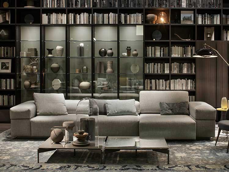 Librería de salón con vitrina incluida