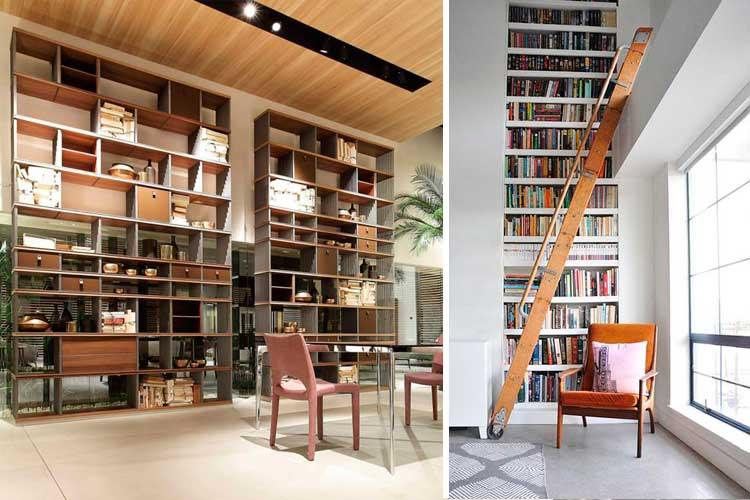 Librerías y estantes de salón de gran altura
