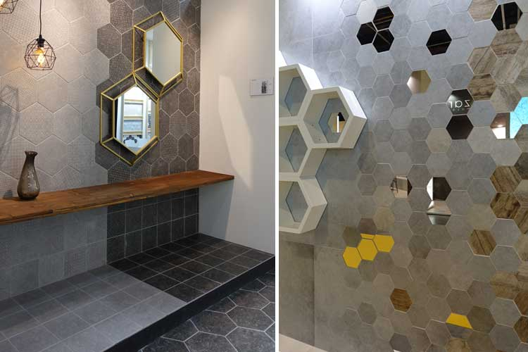 Azulejos baño hexagonales