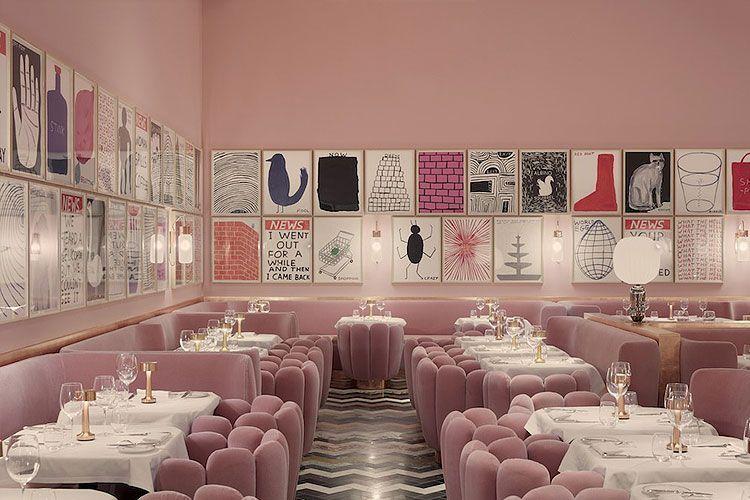 Decoración de comercios en rosa palo