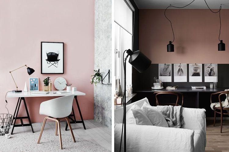 Paredes pintadas en rosa palo