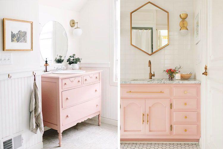 Baños en rosa palo