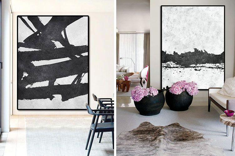 Cuadros abstractos en blanco y negro
