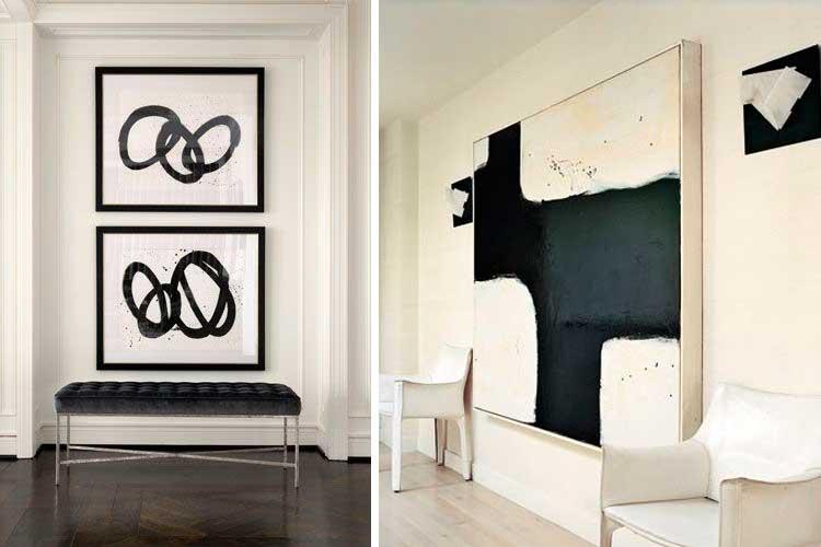 Cuadros abstractos con diseños geométricos